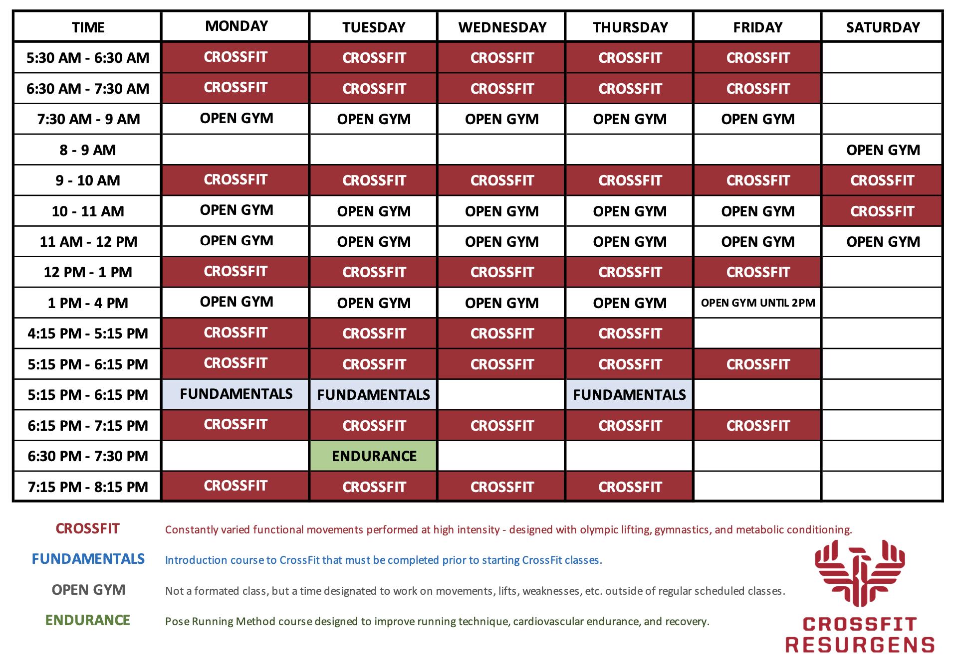 CrossFit Resurgens Schedule